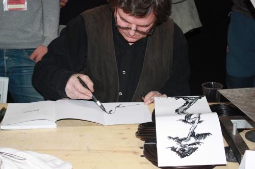 Bonsai François Jeker, dibujando en el Congreso Europeo Bonsai 2009 - EBA Lorca